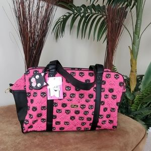 Betsey Johnson Quilted Cat Duffel Weekend Bag